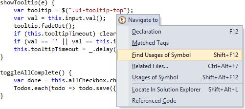 ReSharper 8.1 TypeScript Navigate To Menu