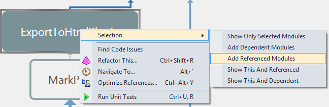 ReSharper 8.1 Architecture View Selection Context Menu