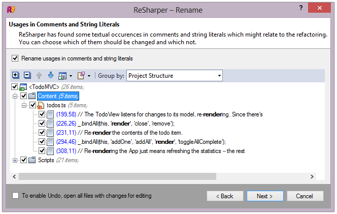 ReSharper 8.1 TypeScript Rename Refactoring Usages in Comments and String Literals