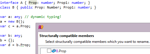 ReSharper 8.1 TypeScript Rename Refactoring Structurally Compatible Members
