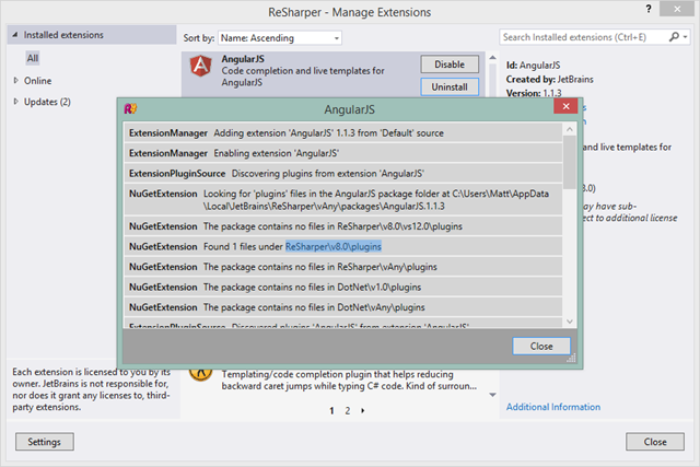 Extension Manager additional information dialog