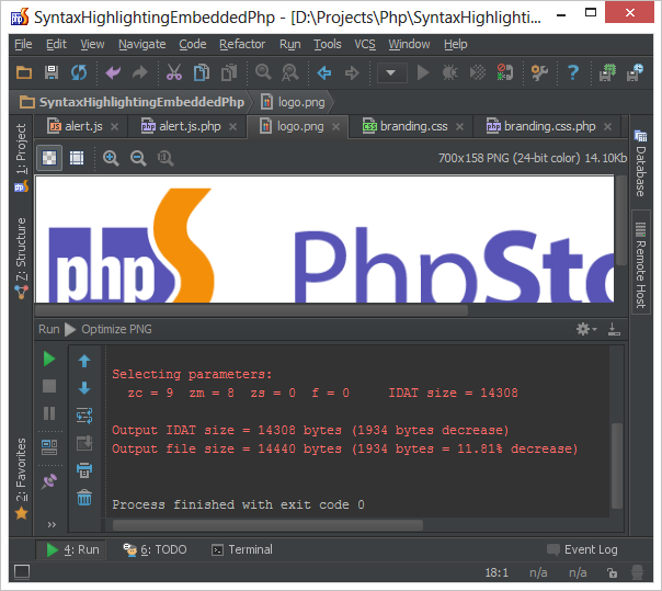 Running external tool in PhpStorm