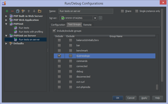 Specify groups of tests to include/exclude from the test run