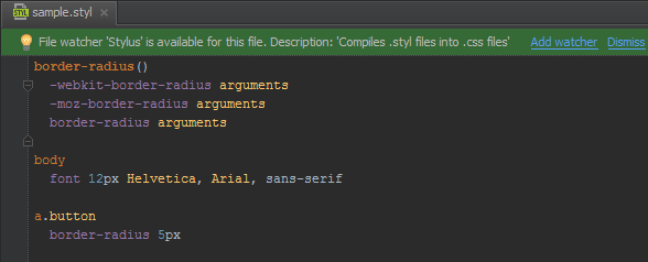 Using Stylus in PhpStorm for writing CSS