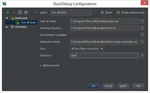 Create Run/Debug Configuration for testing Windows Azure Mobile Services