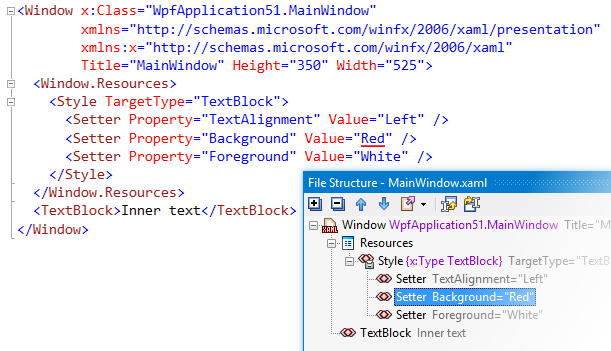 Revisited File Structure window for XAML files