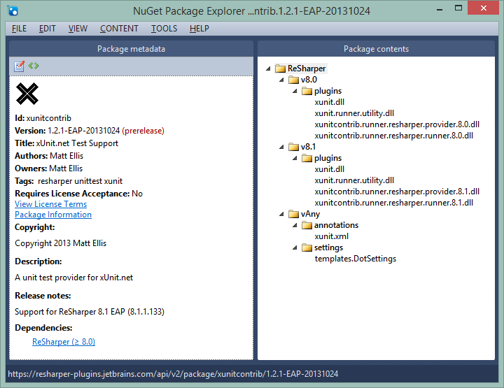 The xunitcontrib package viewed in NuGet Package Explorer