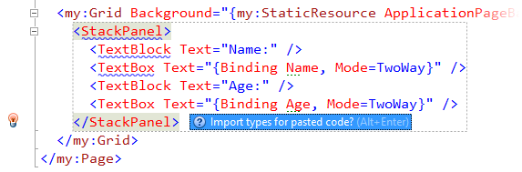 ReSharper offers to import types for pasted XAML code