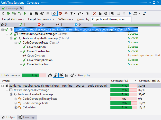 Unit test runner showing dotCover custom code coverage results pane