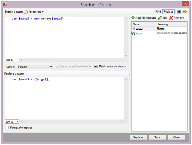 ReSharper 8.1 JavaScript SSR Search with Pattern
