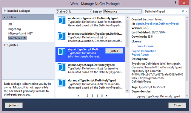 NuGet search for DefinitelyTyped packages