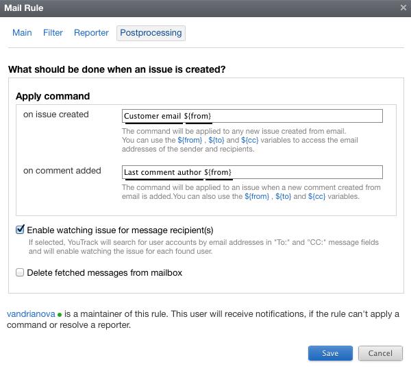 Postprocessing tab of a mailbox integration rule