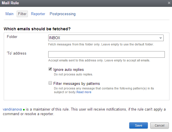 Filter tab of a mailbox integration rule