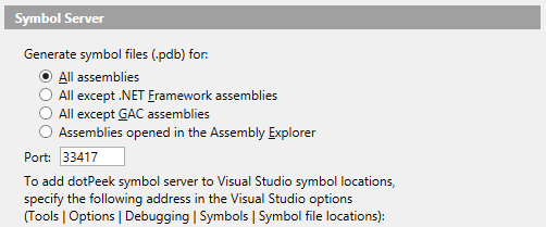 Symbol server options in dotPeek 1.2 EAP