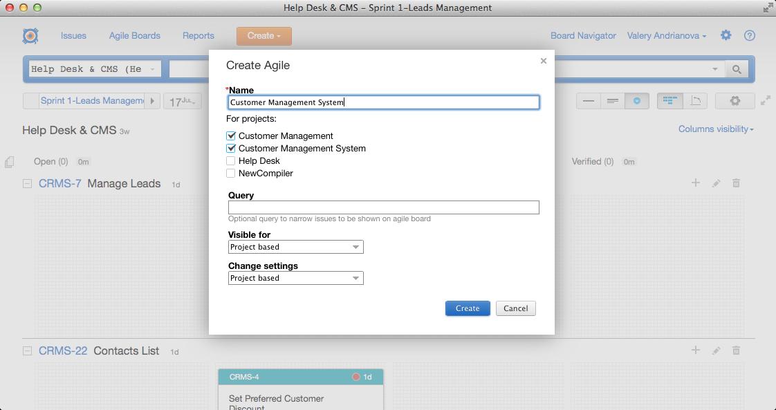 Creating a Cross-project Agile Board