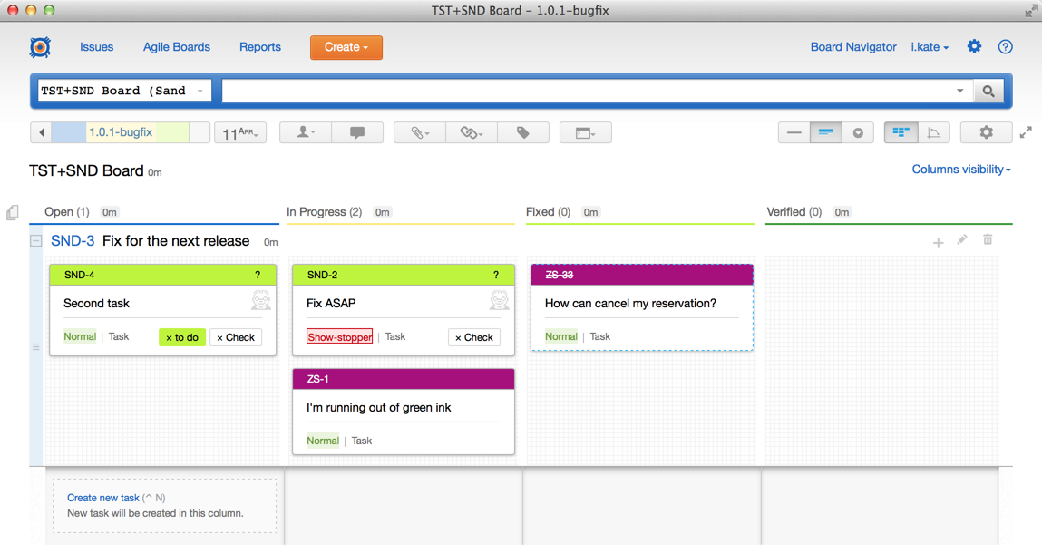 Cross-project board with shared 'Fix version' field