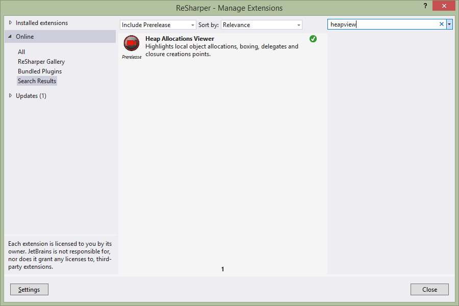Extension Manager showing heapview extension