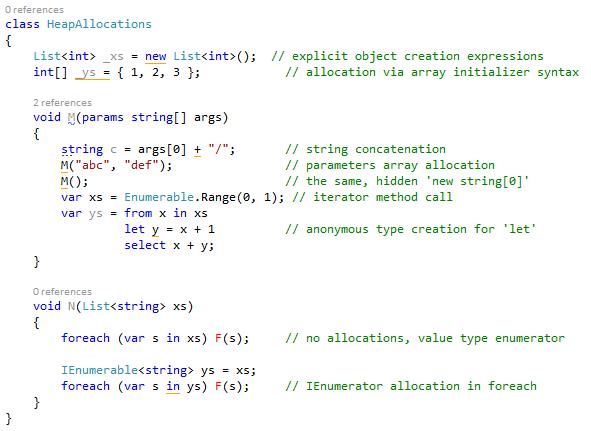 Example heap allocation highlights