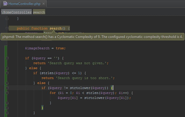 PhpStorm Cyclomatic Complexity warning