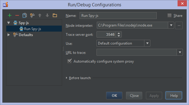 Spy-js Run Configuration