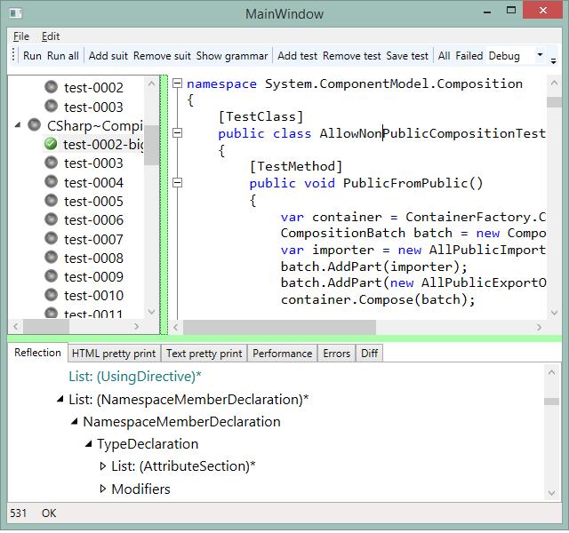 Nitra.Visualiser showing a C# file