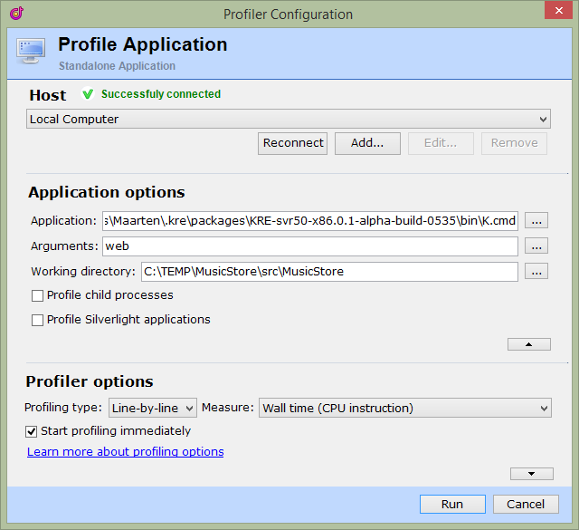 Profiler configuration
