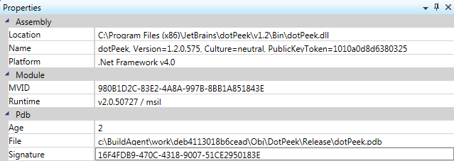 dotPeek 1.2 Process Properties tool window