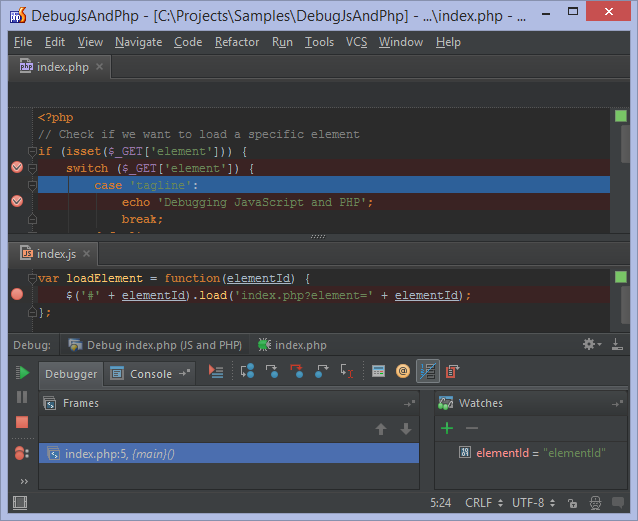 JavaScript and PHP debugger at the same time in PhpStorm