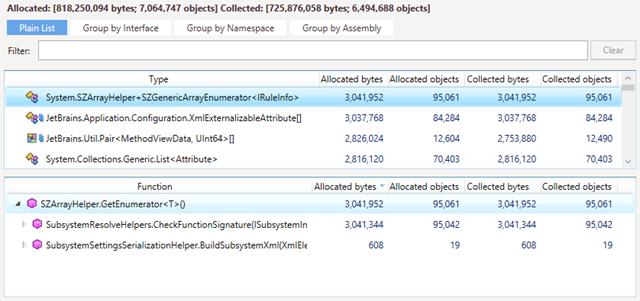 Finding array enumerators using dotMemory
