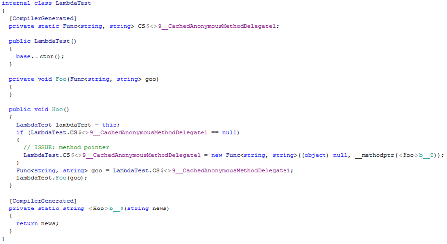 Caching lambdas example. Decompiled code