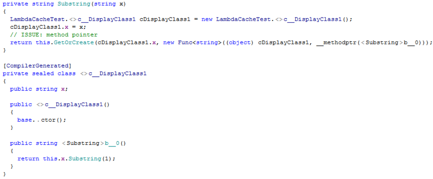 Lambdas example. Decompiled code with no caching