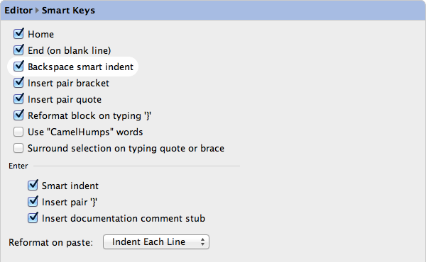 Backspace Smart Indent Settings