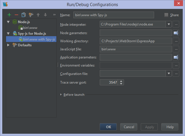 Run/Debug configuration for Spy-js with Node.js