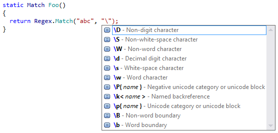 code completion for regular expressions in ReSharper 9