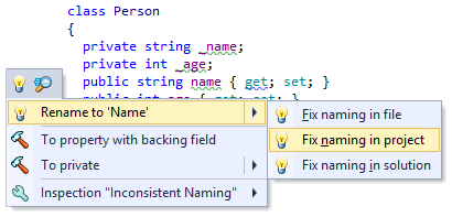Fix in Scope: more quick-fixes that can be applied in the entire project or solution