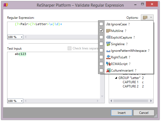 Regular Expression match options in ReSharper 9