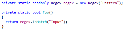 To precompiled regex context action in ReSharper 9