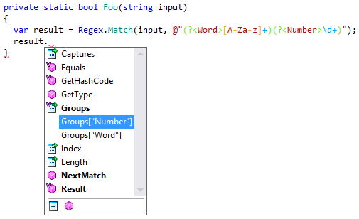 Code completion for MatchResult objects in ReSharper 9