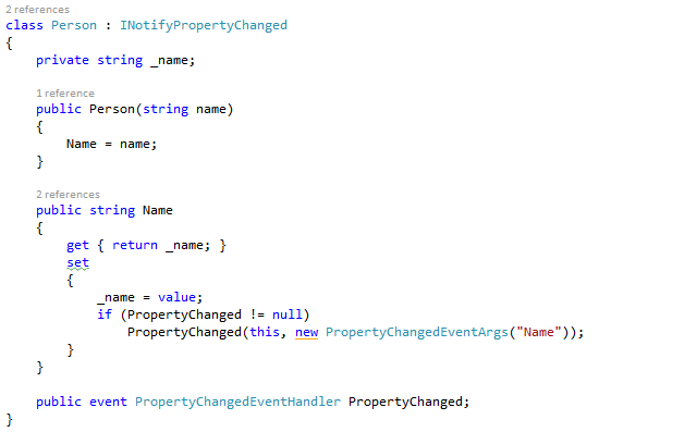 Person class with INotifyPropertyChanged