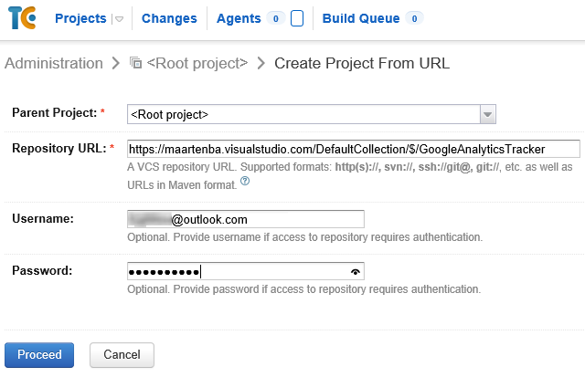 Create TeamCity Project from Visual Studio Online