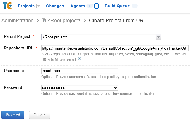 Create project from URL