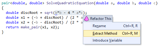 Extract Method refactoring in ReSharper C++