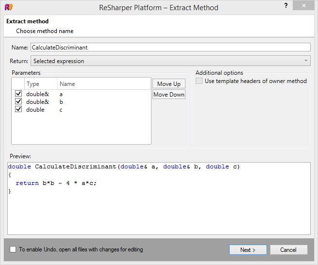 Extract Method refactoring in ReSharper C++