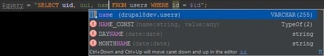 SQL completion inside strings with PhpStorm