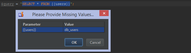 Provide missing values when running query