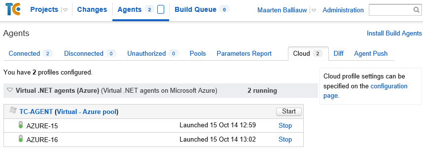TeamCity agent running in Azure