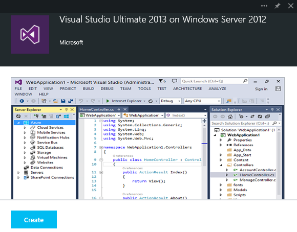Visual Studio MSDN image on Azure