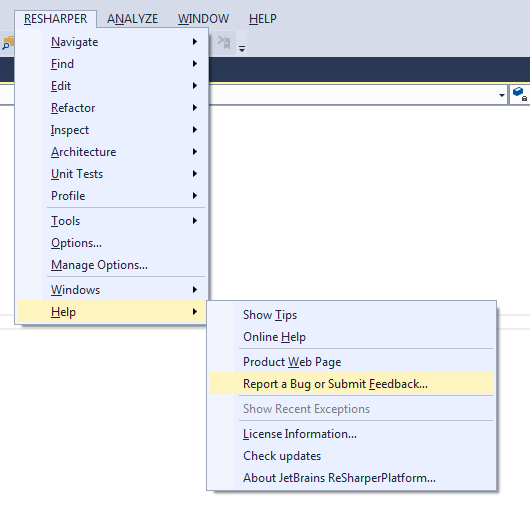 Reporting feedback on ReSharper and other JetBrains .NET tools  from Visual Studio