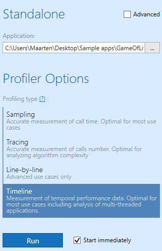 Profiling types including new timeline profiling
