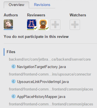 Files under review, grouped by directory